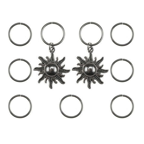 Goudhaartje Hair rings 9 stuks met 2 bedels zon zilverkleurig
