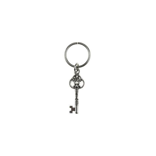 Hair ring met bedel sleutel zilverkleurig