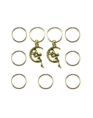 Hair rings 9 stuks met 2 bedels elfje goudkleurig
