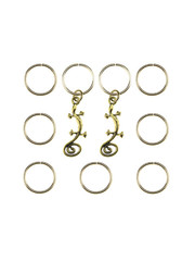 Goudhaartje Hair rings 9 stuks met 2 bedels salamander goudkleurig