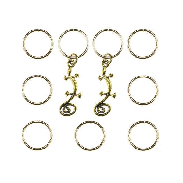 Hair rings 9 stuks met 2 bedels salamander goudkleurig