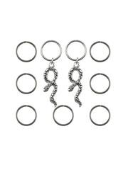 Goudhaartje Hair rings 9 stuks met 2 bedels slang zilverkleurig