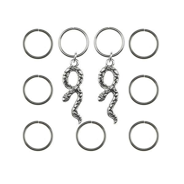 Hair rings 9 stuks met 2 bedels slang zilverkleurig