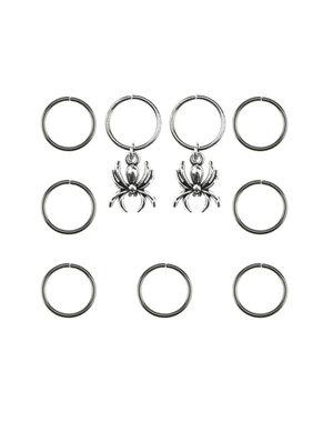 Hair rings 9 stuks met 2 bedels spin zilverkleurig