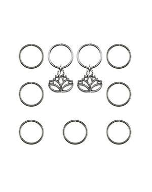 Hair rings 9 stuks met 2 bedels lotus zilverkleurig