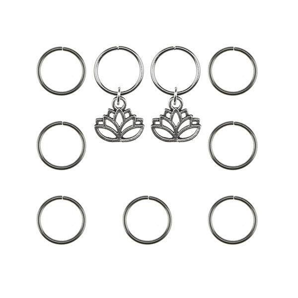Goudhaartje Hair rings 9 stuks met 2 bedels lotus zilverkleurig