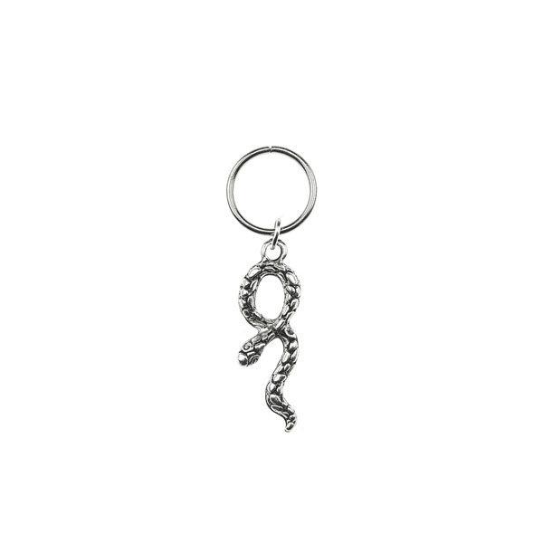 Hair ring met bedel slang zilverkleurig