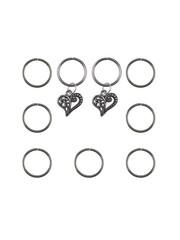 Goudhaartje Hair rings 9 stuks met 2 bedels hart zilverkleurig