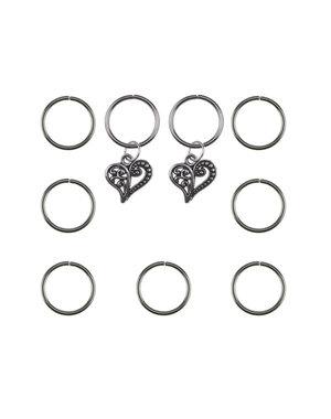 Hair rings 9 stuks met 2 bedels hart zilverkleurig