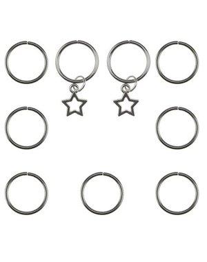 Hair rings 9 stuks met 2 bedels ster zilverkleurig