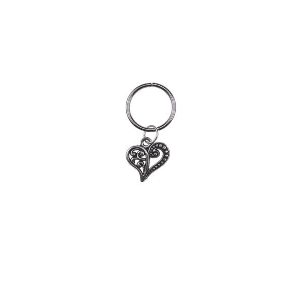 Hair ring met bedel hart zilverkleurig