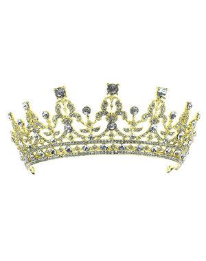 Goudhaartje tiara kristallen goudkleurig kroon