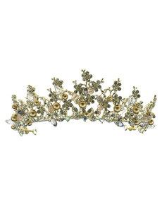 Goudhaartje Tiara steentjes goudkleurige pareltjes