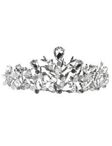 Goudhaartje Tiara zilverkleurig takjes steentjes en facetstenen