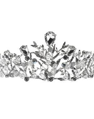 Tiara zilverkleurig takjes steentjes en facetstenen