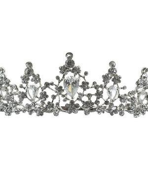 Tiara zilverkleurig kleine bloemetjes van steentjes