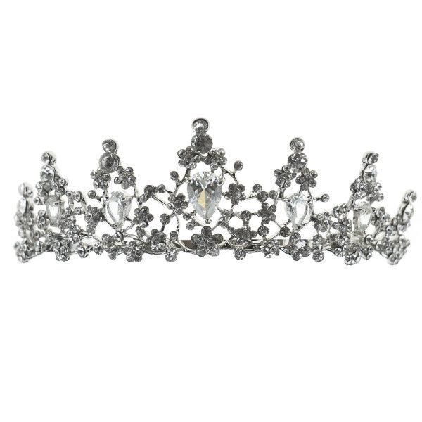 Goudhaartje Tiara zilverkleurig kleine bloemetjes van steentjes