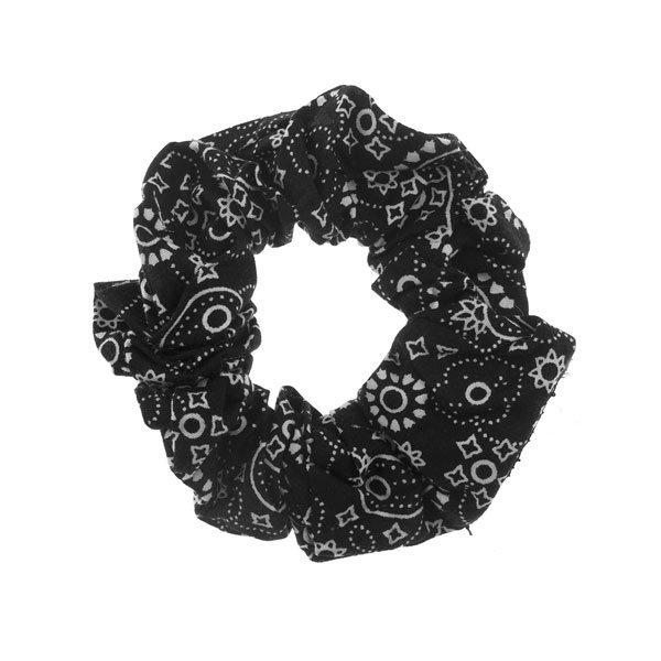 Scrunchie zwart met wit motief
