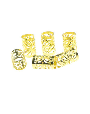 Dreadlock bead cuff 6 stuks zonnestralen goudkleurig