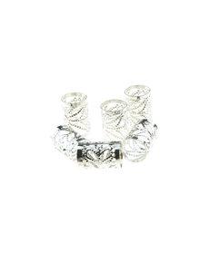 Goudhaartje Dreadlock bead cuff 6 stuks zonnestralen zilverkleurig