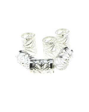 Dreadlock bead cuff 6 stuks zonnestralen zilverkleurig