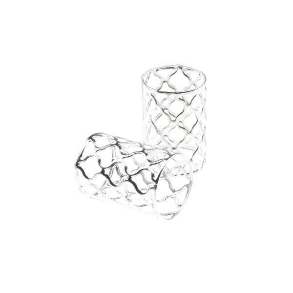 Dreadlock bead cuff 2 stuks vormen zilverkleurig XL