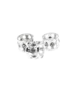 Dreadlock bead cuff 3 stuks strass steentjes zilverkleurig