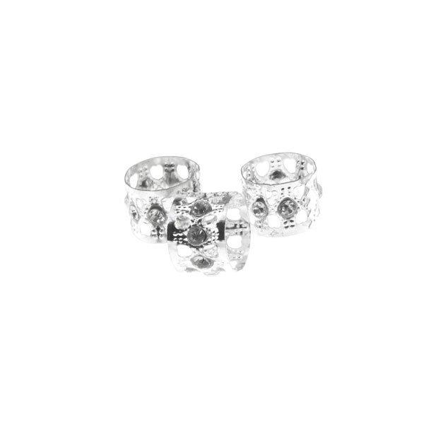 Goudhaartje Dreadlock bead cuff 3 stuks strass steentjes zilverkleurig
