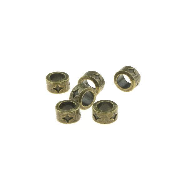 Goudhaartje Dreadlock bead 6 stuks ster bronskleurig