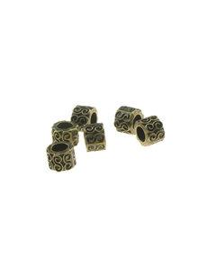 Goudhaartje Dreadlock bead 6 stuks golven bronskleurig