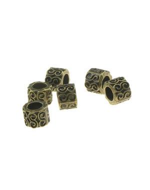Dreadlock bead 6 stuks golven bronskleurig