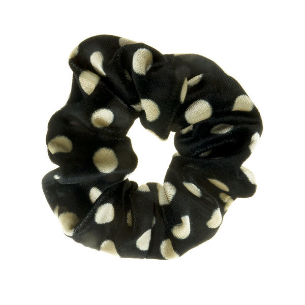 Goudhaartje Scrunchie zwart crèmekleurig polkadot