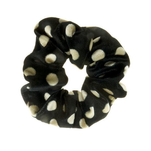 Scrunchie zwart crèmekleurig polkadot