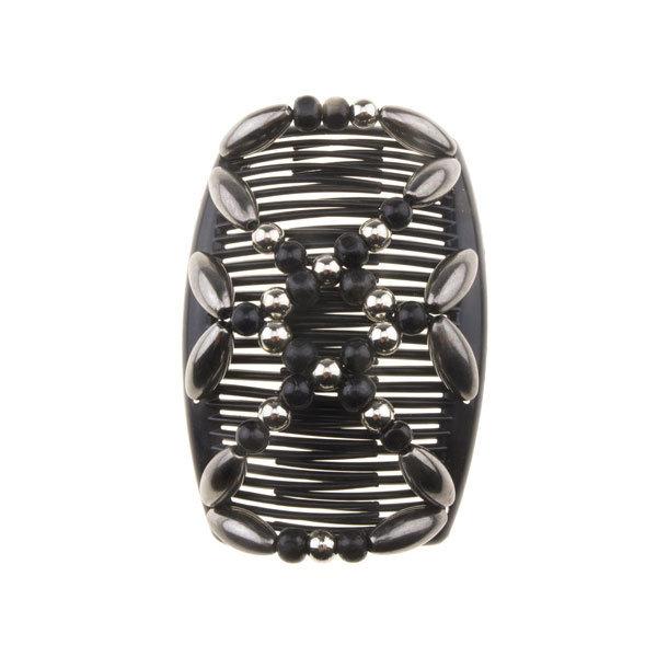 Goudhaartje EZ comb grote kralen zwart zilverkleurig