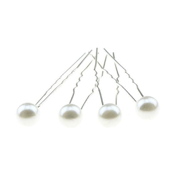 Haarpinnen met parel wit 4 stuks