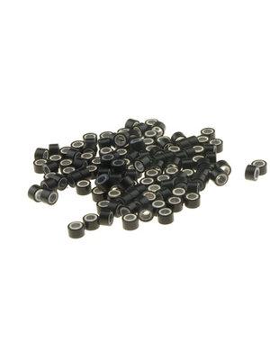 Microringen met siliconen 100 stuks zwart