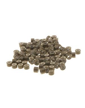 Microringen met siliconen 100 stuks bruin