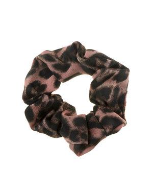 Scrunchie panterprint oud roze