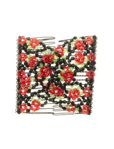 Goudhaartje EZ comb met kralen en bloemen strass rood