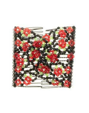 EZ comb met kralen en bloemen strass rood