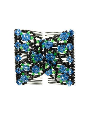 EZ comb met kralen en bloemen strass blauw