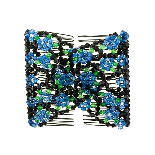 Goudhaartje EZ comb met kralen en bloemen strass blauw