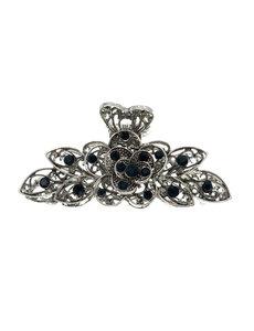 Goudhaartje Haarklem zilverkleurig zwarte strass stenen