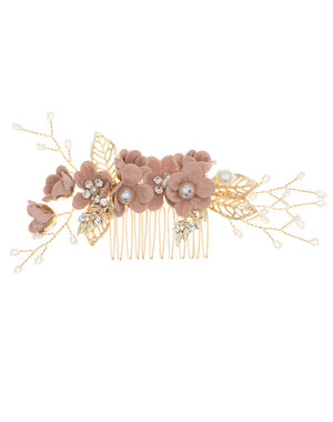Haarkam goudkleurig bloemen oud roze