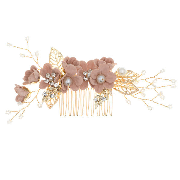 Goudhaartje Haarkam goudkleurig bloemen oud roze