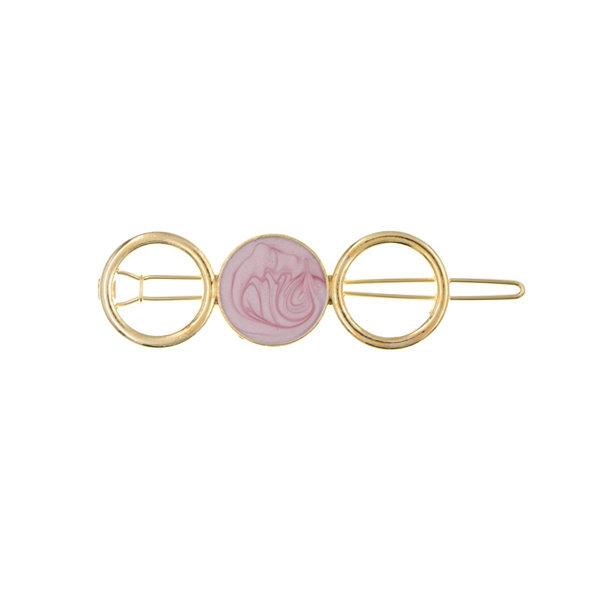 Haarclip goudkleurig cirkels roze