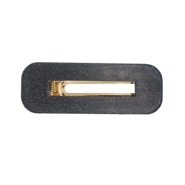 Goudhaartje Haarclip rechthoekig zwart glitter
