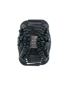 Goudhaartje Ez comb houten kralen zwart symbols