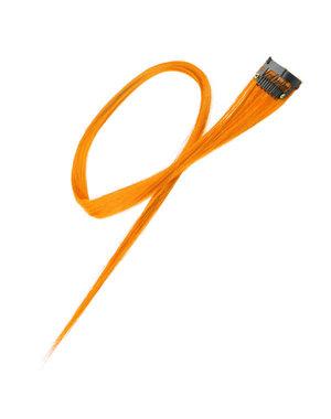 Haarlok met een clip large in de kleur oranje