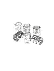 Goudhaartje Dreadlock bead cuff 6 stuks bloemen zilverkleurig